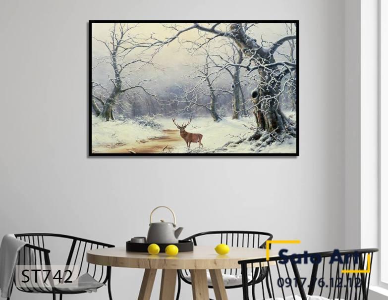 Tranh thiên nhiên tuyết trắng