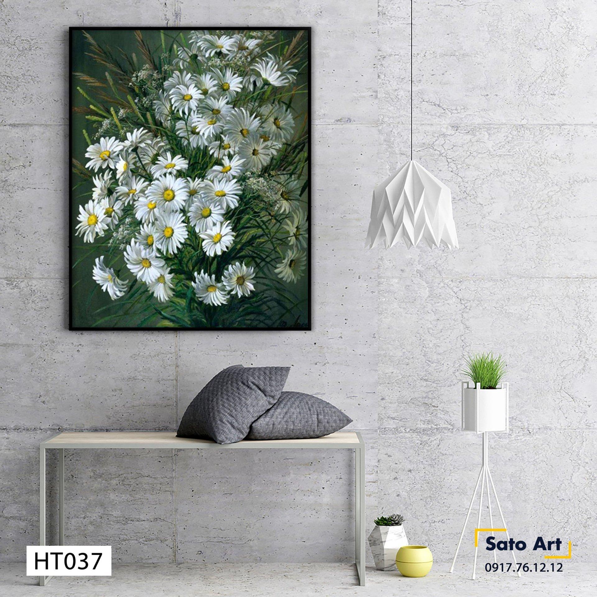 Tranh sơn dầu hoa cúc cao cấp