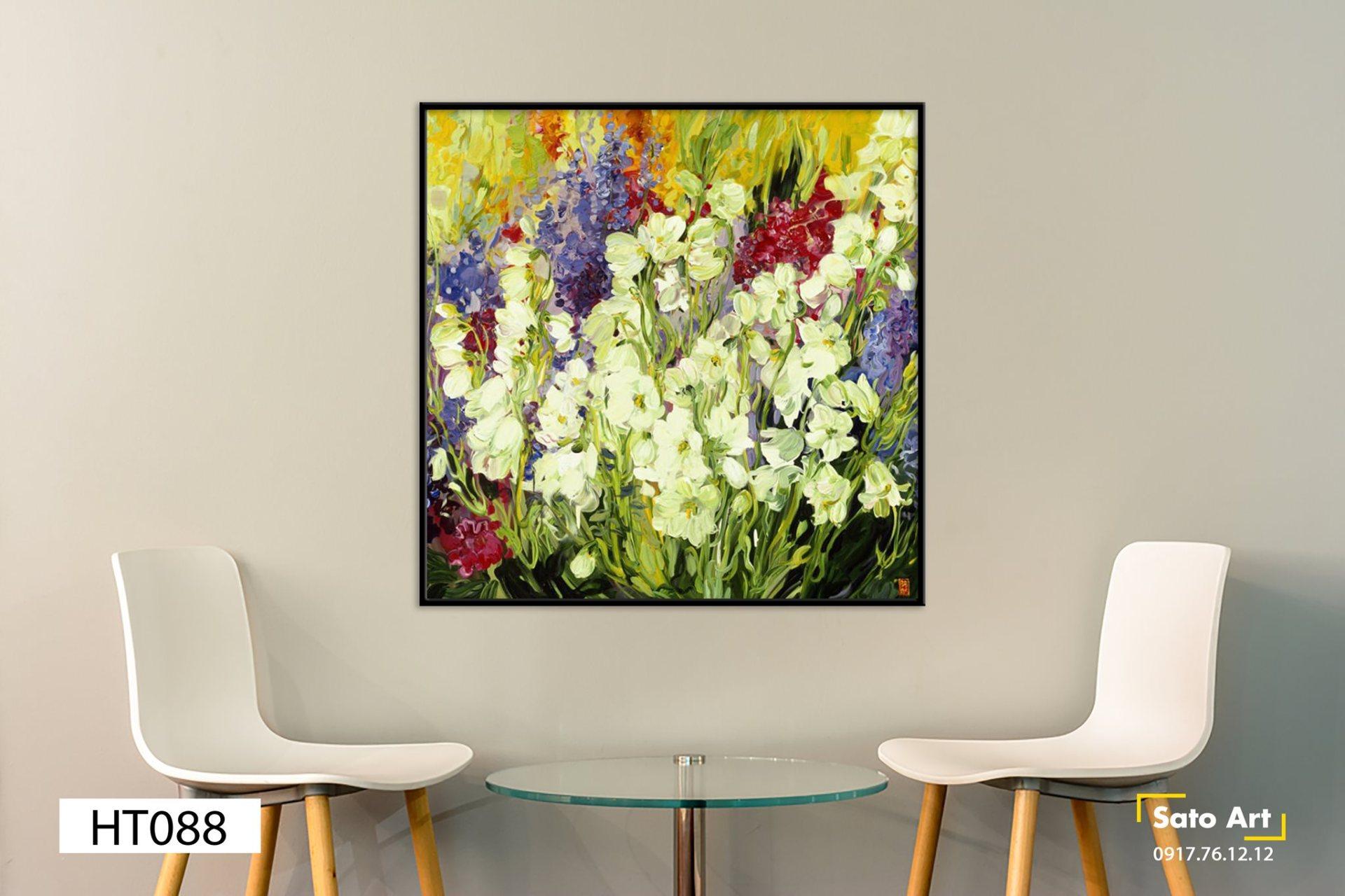 tranh bụi hoa đa sắc