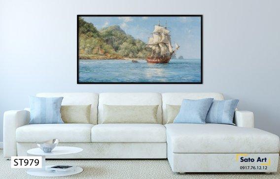 Tranh nghệ thuật sơn dầu chiếc thuyền