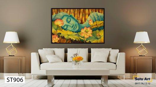 Tranh Phật nằm bên hồ sen