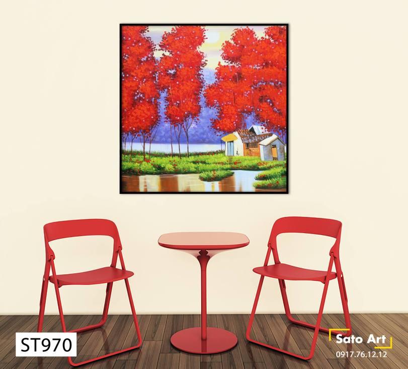Tranh phong cảnh mùa thu lá đỏ