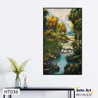 Tranh sơn dầu phong cảnh sinh hoạt