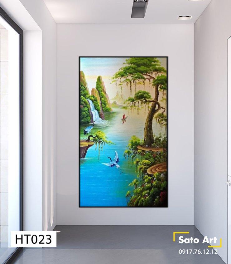 tranh sơn dầu phong cảnh tùng hạc ở Biên Hòa