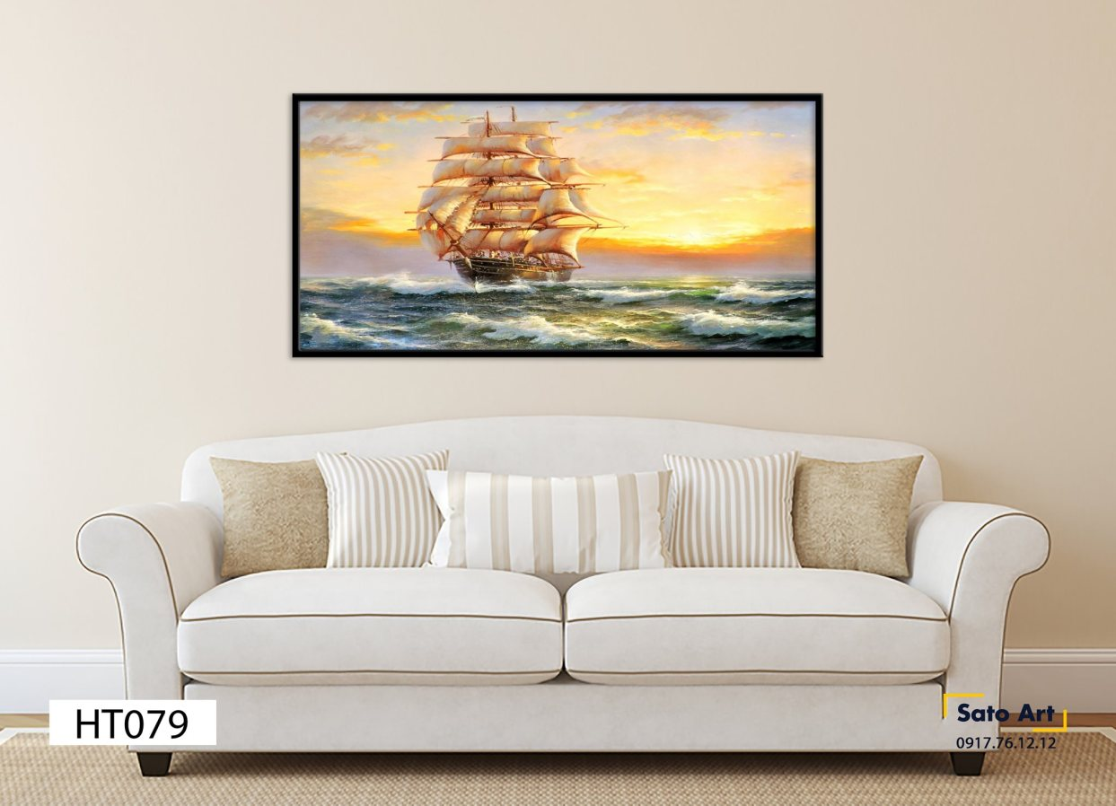 Bức tranh phong cảnh thuyền buồm