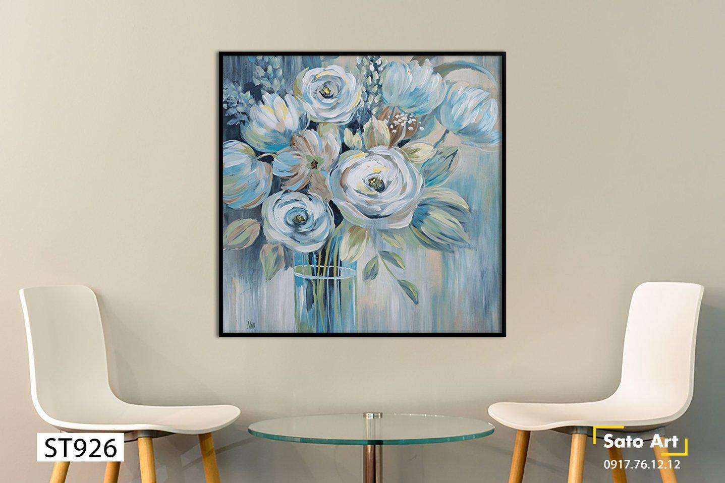 Tranh sơn dầu lọ hoa đẹp