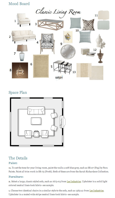 Sample E-Design Plan Package by Satori Design for Living