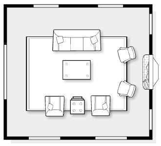 E-Design Space Plan for Classic Living Room | Satori Design for Living