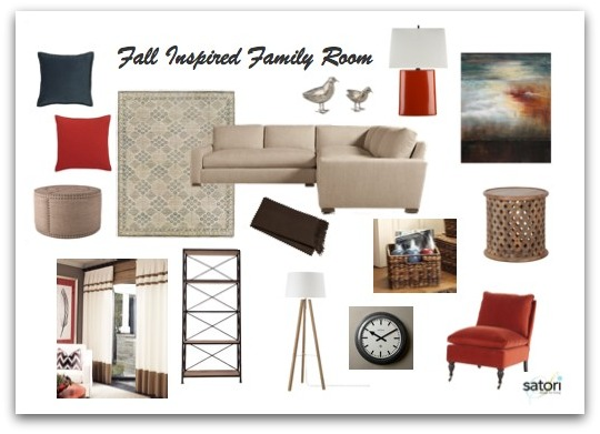 Deep Blue, Orange and Beige Family Room Design - Satori Design for Living