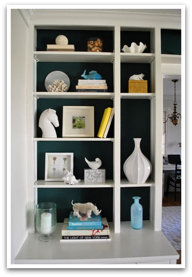 Style Your Bookcase - Teal Back-painted bookcase by Young House Love