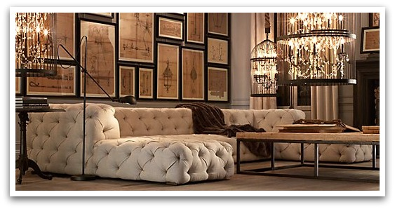 Button Tufted Linen Sectional from RH