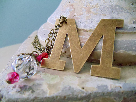 Antique/Vintage Brass Letter Necklace by Nostalgic Summer