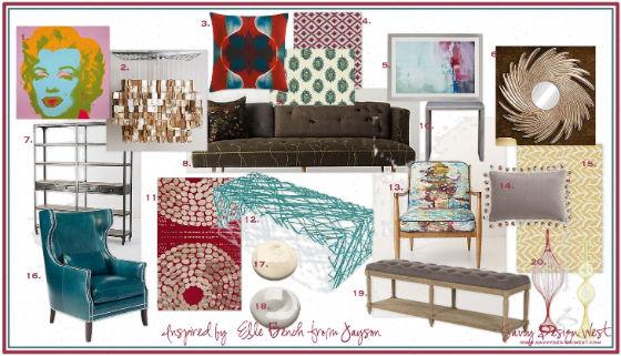 Fun and Modern Living Room Design Board
