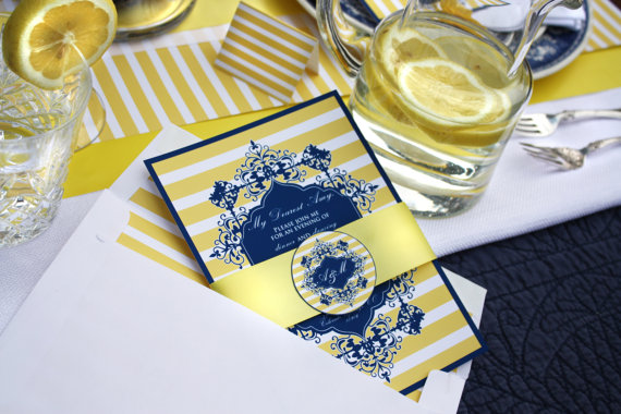 Formal Blue and Yellow Tea Invitation by Green Beansie Ink