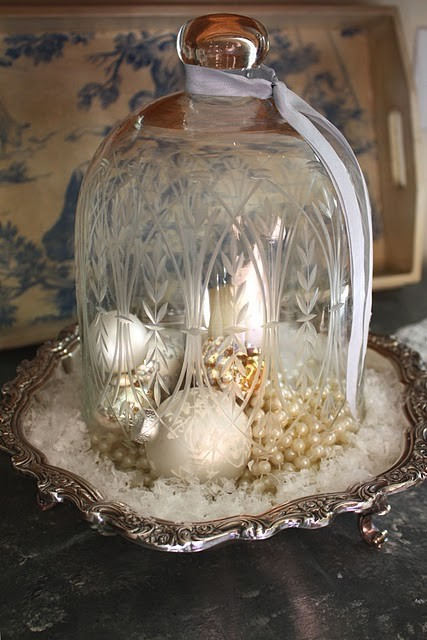 Cloche with Winter White Decor for the Holidays - My Romantic Home