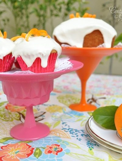 Spray Painted Pink and Orange DIY Dessert Stands- Centsational Girl