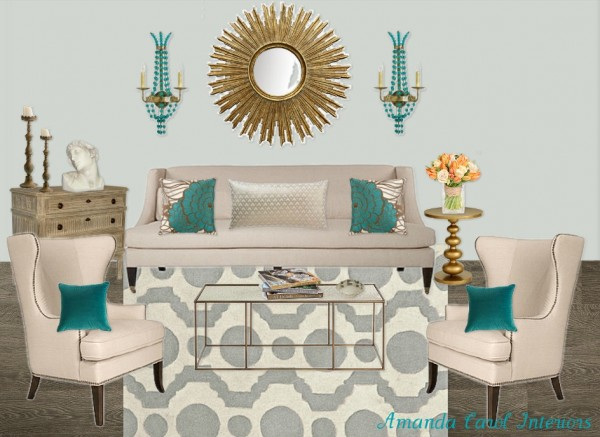 Amanda Carol Living Room Mood Board with Circle Fret Area Rug