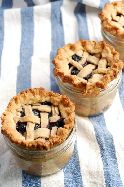 Lattice Top Blueberry Pie in a Jar by Elizabeth Stark for Babble.com