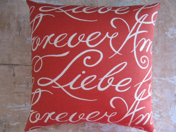 Valentine's Day Gift Ideas - Liebe Forever Pillow on Etsy