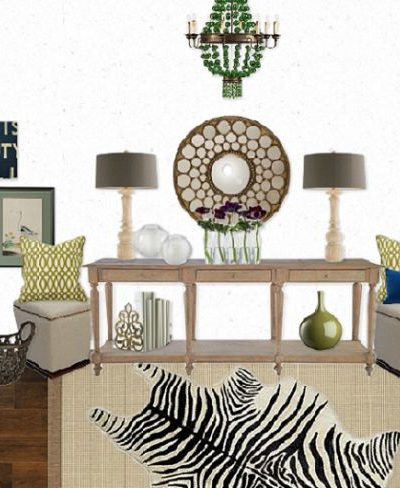 A beautiful space decorated around a long wooden console table - Part of the Designer Challenge Series on SatoriDesignforLiving.com