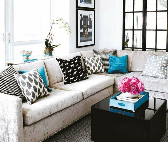 Sectional with Throw Pillows by Stacey Cohen Interiors