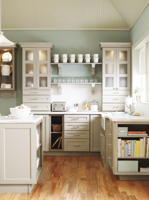 Dream Kitchen- Glass Cabinet Doors by Martha Stewart