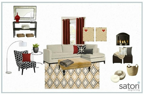 One Room, Two Looks- Bonus Room Mood Board with Red Accents