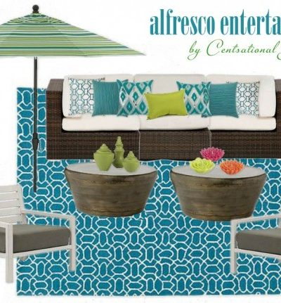 Which Side Table? Alfresco Entertaining Outdoor Space Moodboard by Centsational Girl - Part of the Designer Challenge Series hosted on SatoriDesignforLiving.com