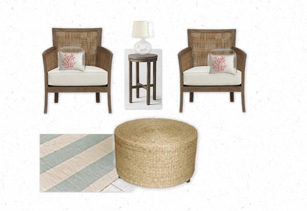 Beach House Sunroom Mood Board - Woven chairs, Seagrass Ottoman