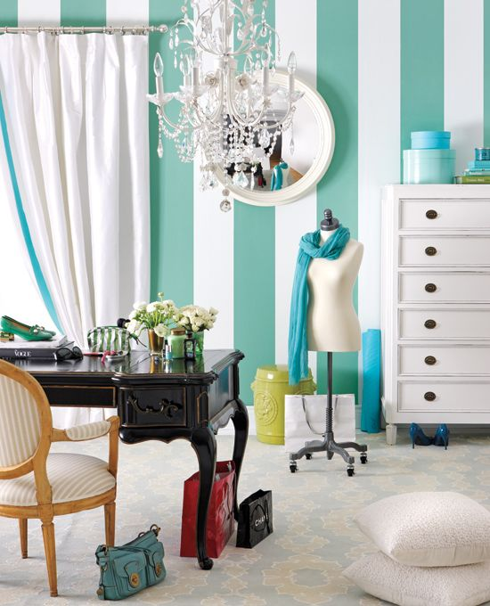Fashionable Dressing Room with Bold Striped Walls - Style at Home