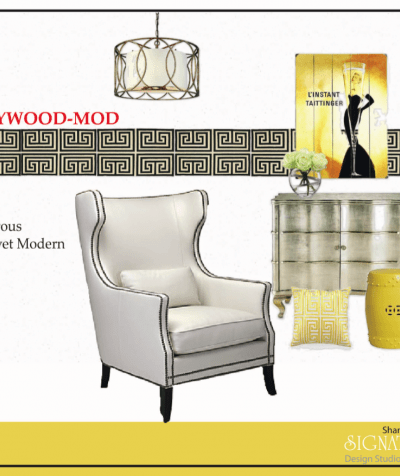 Hollywood Modern Reading Corner Mood Board by Shandra Ward for the Designer Challenge Series hosted by SatoriDesignforLiving.com