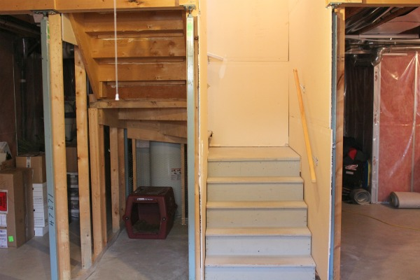 Basement Renovation BEFORE- Using the Area Under Stairs for a Snack Bar