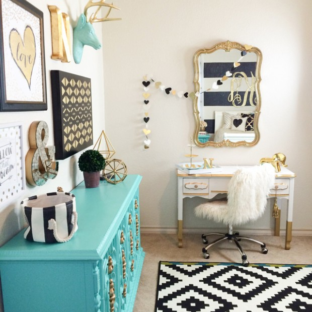 Black & Gold Nursery with Tiffany Blue Dresser - Caden Lane