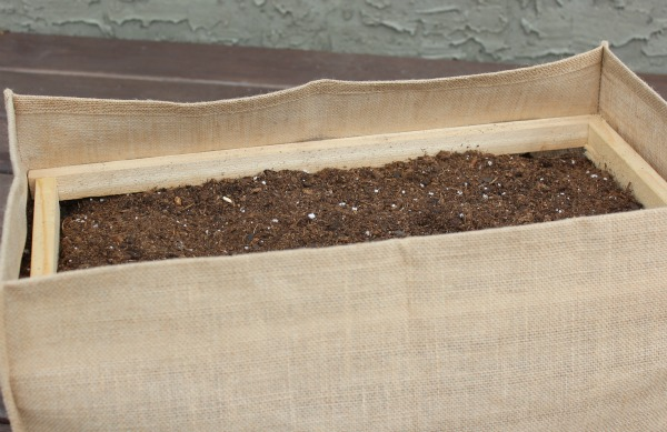 How to Create a Kitchen Container Potager - Adding Wood Bracing To Burlap Garden Bags