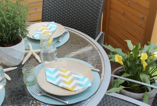 Turquoise and Yellow Summer Table Setting Outdoors