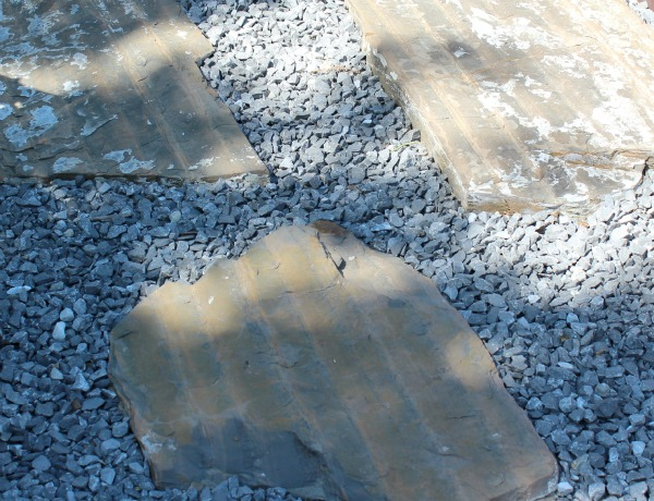 Irregular Slate Stepping Stones from the Deck to the Patio