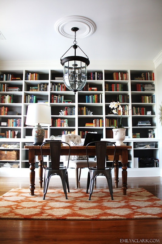 Emily A. Clark's Office - Back-painted Bookcase in Urbane Bronze by Sherwin Williams