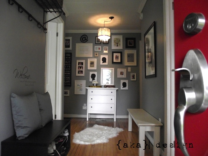 Wexford Fog Paint Color by CIL - Grey Painted Hallway by aka design