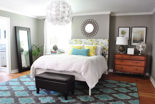 Young House Love Bedroom with Turquoise Patterned Area Rug
