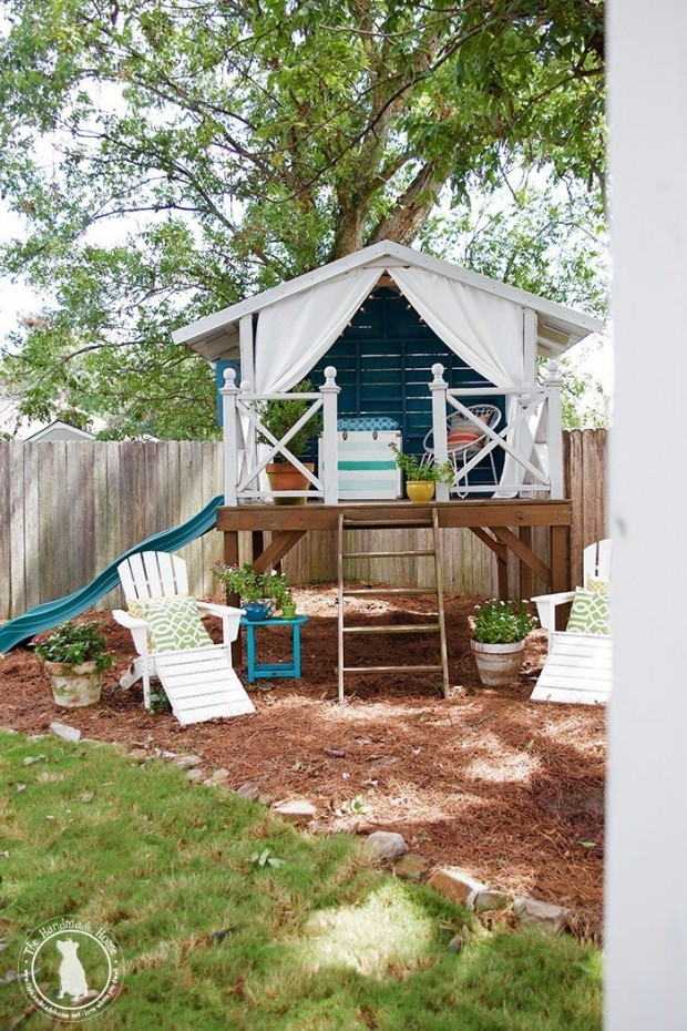 Playhouse Painted in Benjamin Moore Calypso Blue - The Handmade Home