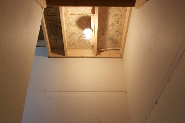 Finishing Our Basement - Stairwell Lighting BEFORE