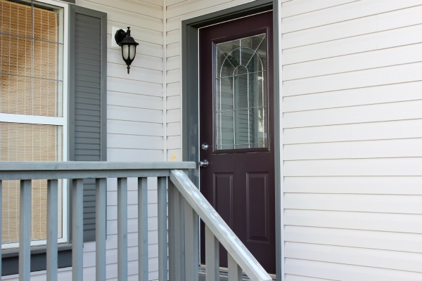Eggplant Front Door BEFORE - Selecting a New Front Door Paint Color for a Grey House
