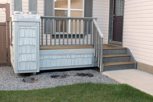 Grey Front Porch Landscape Before
