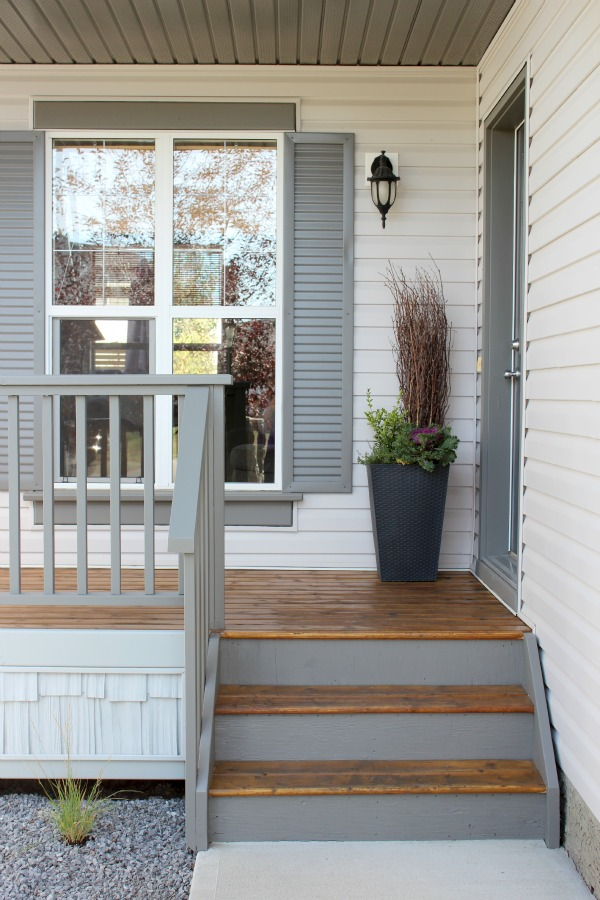 Front Porch with Pewter Grey Stain by Behr and Benjamin Moore Wrought Iron for Front Door