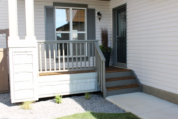 Grey Front Porch Makeover - Staining the Front Porch in Pewter by Behr