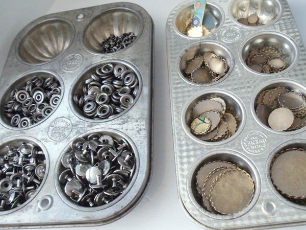 Workspaces That Inspire - Vintage muffin tins for jewelry supply storage
