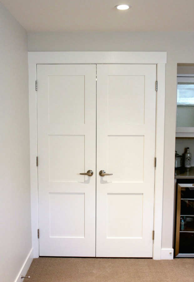 Storage Room Entrance - White Painted Double Shaker Style Doors - Satori Design for Living