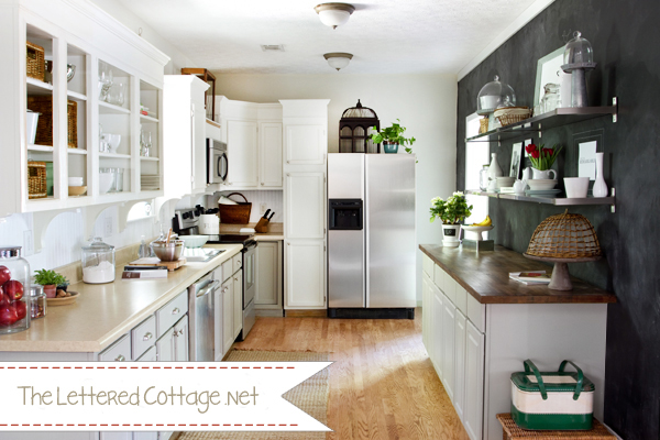 Black Chalkboard Painted Walls in Kitchen - The Lettered Cottage