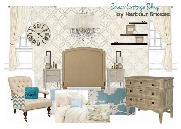 Beach Cottage Bling Bedroom Mood Board for the Designer Challenge on SatoriDesignforLiving.com