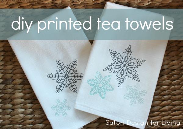 DIY Printed Tea Towels with Snowflakes